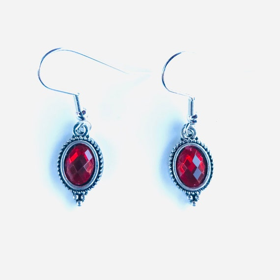 Faceted Red Glass Bezel Set Antique Silver Dangle Earrings
