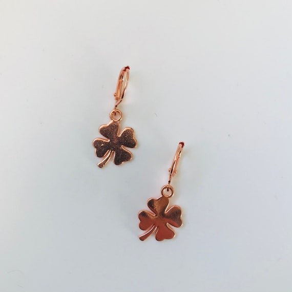 Rose Gold Shamrock Dangle Earrings