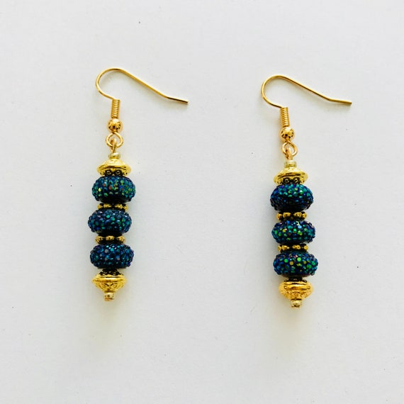 Shimmering Dark Blue and Gold Dangle Earrings