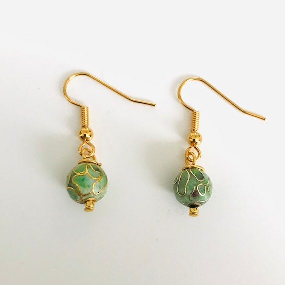 Green Cloissone Dangle Earrings