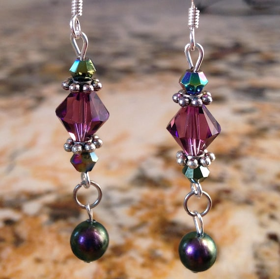 Patricia's Purple Passion Swarovski Crystal Dangle Earrings