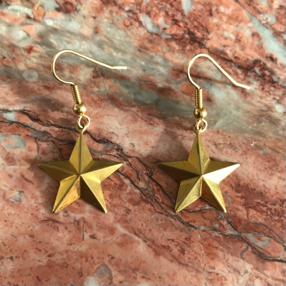 Star in Golden Brass Dangle Earrings