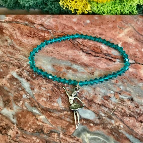 Tiny Dancer Ballerina Blue Czech Crystal Bracelet
