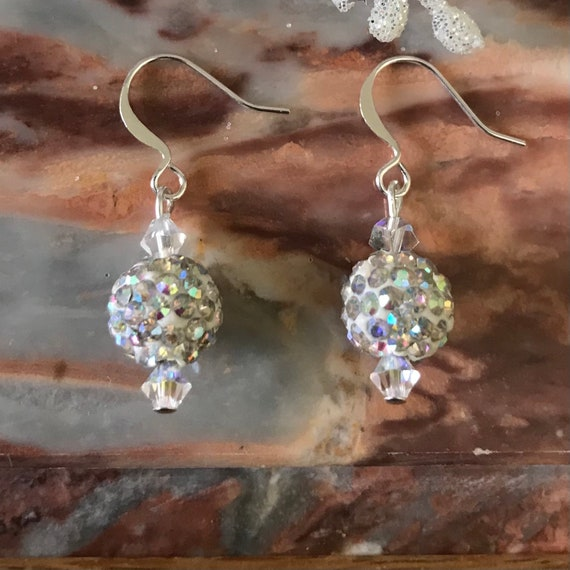 AB Crystal Ball Dangle Earrings