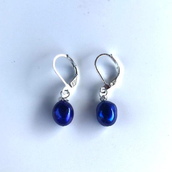 Blue Baroque Freshwater Pearl Dangle Earrings