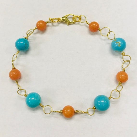 Mary's Magnesite and Coral Gold Plated Wire Bracelet