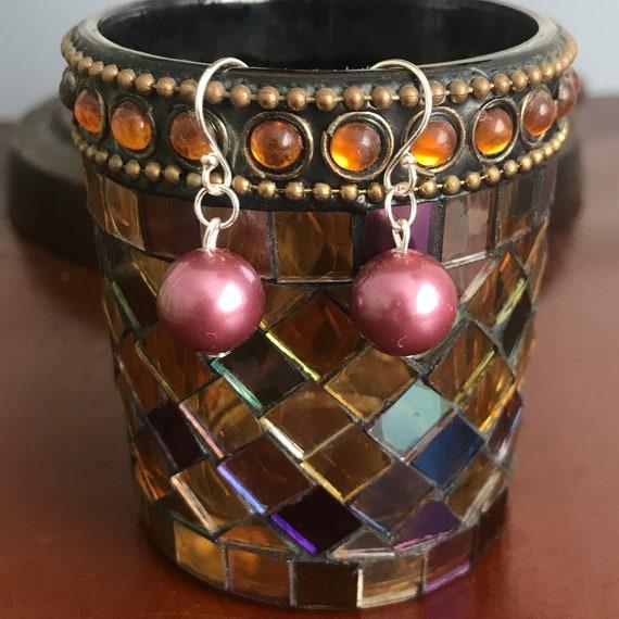 Elegant Purple Shell Pearl Dangle Earrings