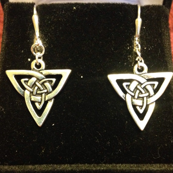 The Celtic Open Weave Triangle Earrings