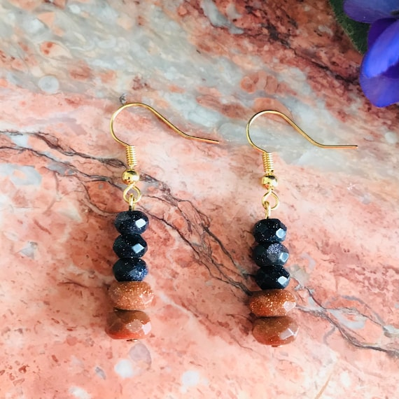 Gold and Blue Sandstone Faceted Rondelle Dangle Earrings