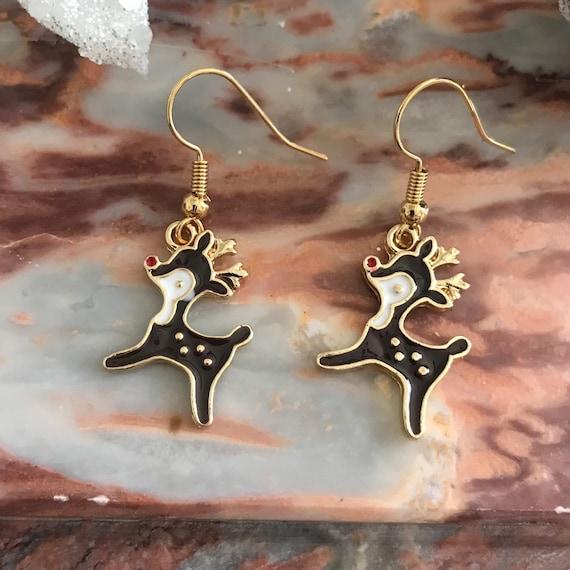 Christmas Red Nosed Reindeer Dangle Earrings