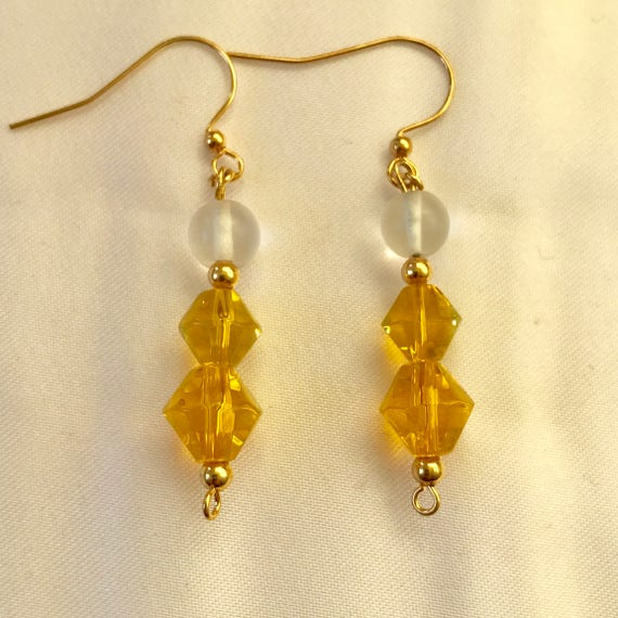 The Bold Gold Crystal and White Quartz Earrings