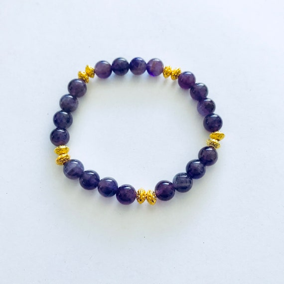 Amethyst Stretch Bracelet with Gold Tone Rondelles