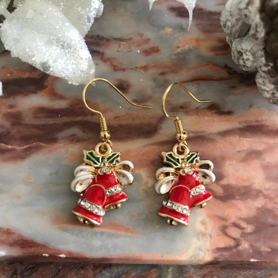 Red Christmas Bell Dangle Earrings