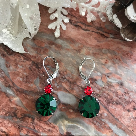 Holiday Sparkly Emerald Green and Red Swarovski Dangle Earrings