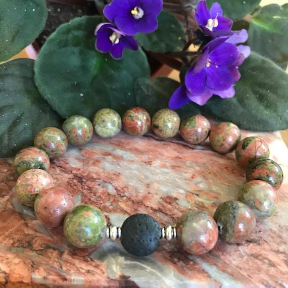 Men's Unakite Aromatherapy Diffuser Bracelet