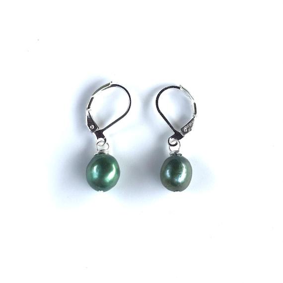 Olive Green Baroque Freshwater Pearl Dangle Earrings
