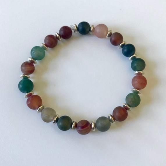 Multicolored Matte Agate Stretch Bracelet