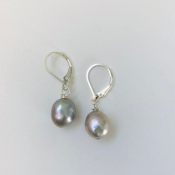 Gray Baroque Pearl Sterling Silver Dangle Earrings