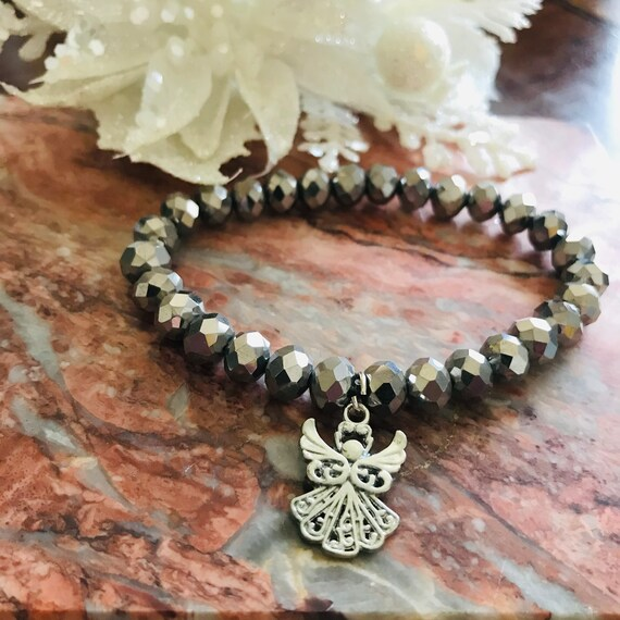 Silver Metallic Crystal Angel Bracelet