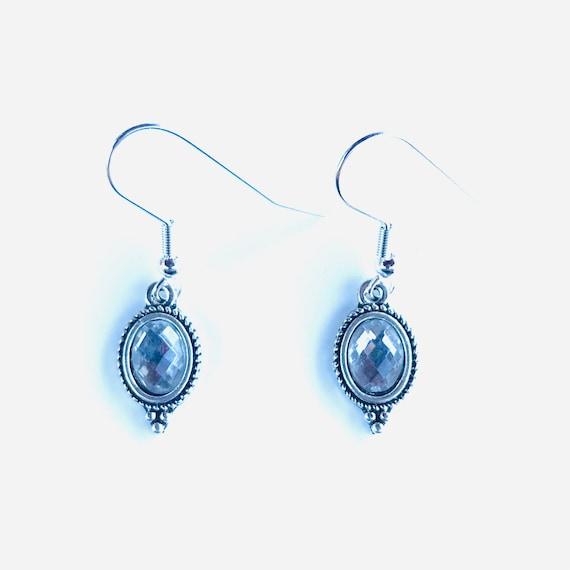 Faceted Gray Glass Bezel Set Antique Silver Dangle Earrings