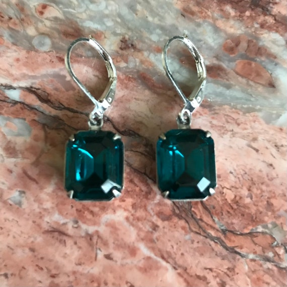 Blue Zircon Octagon Rhinestone Silver Dangle Earrings