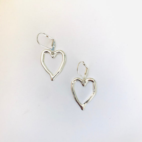 Rustic Silver Heart Earrings