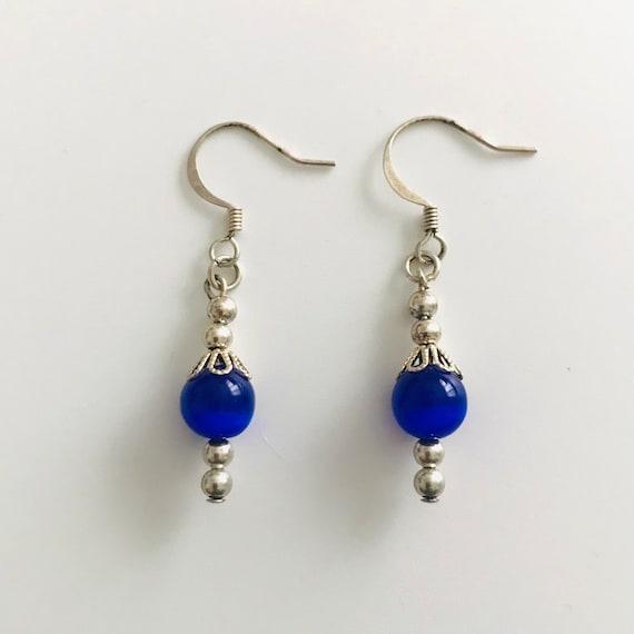 The Blue Cat's Eye Dangle Earrings