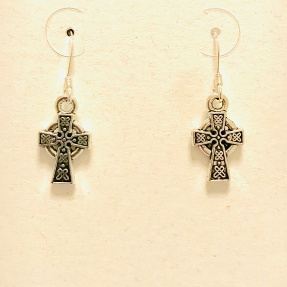 Antique Silver Celtic Cross Earrings