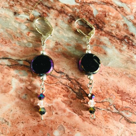 Daring Dangling Black Glass Earrings