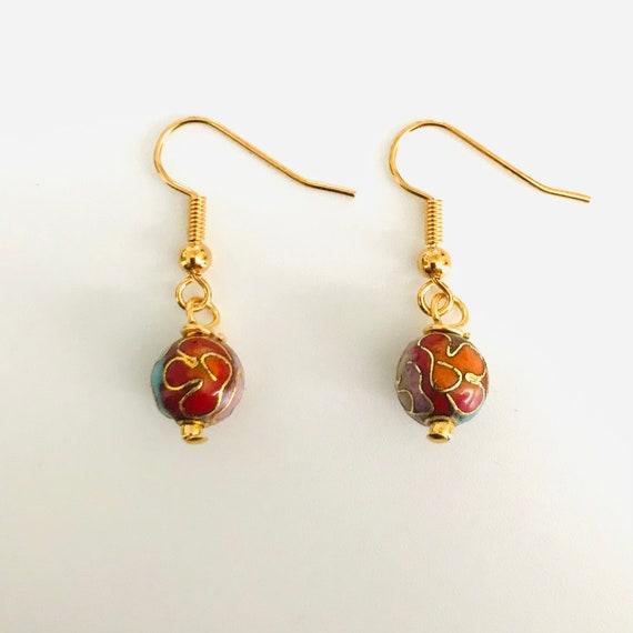 Red Cloissone Dangle Earrings