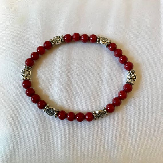 Deep Red Mountain Jade Bracelet