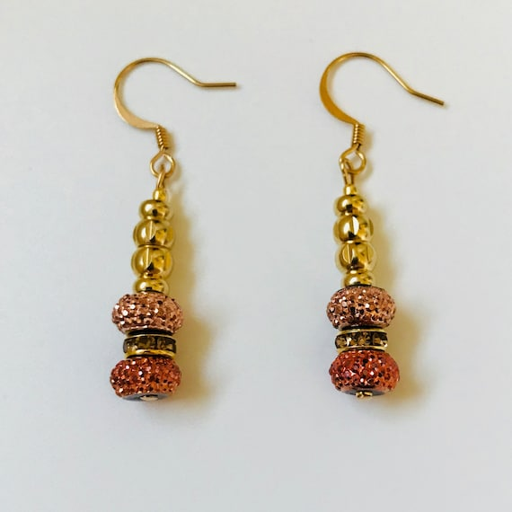 Sparkly Gold, Copper and Amber Tone Dangle Earrings