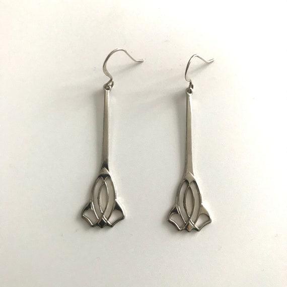 Art Deco Silver Plated Dangle  Earrings