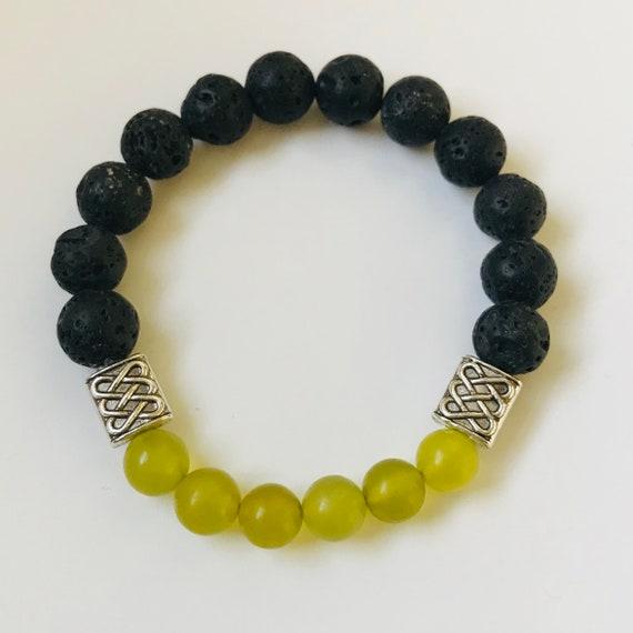 Prehnite Celtic Knot Diffuser Bracelet