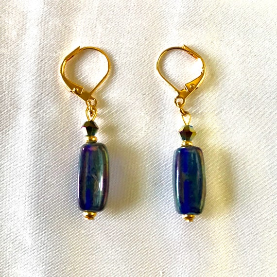 Purple Passion Glass Dangle Earrings