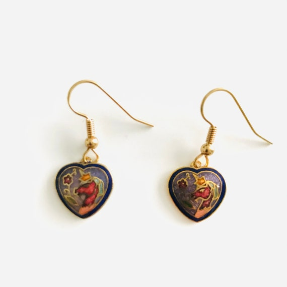 Vintage Cloissone Unicorn Heart Dangle Earrings