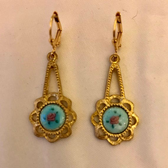 Vintage Victorian Blue Guilloche Enamel Filigree Dangle Earrings