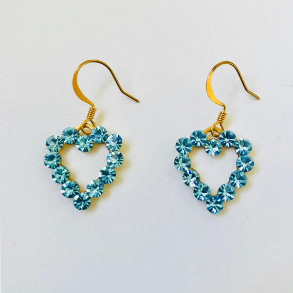 Aquamarine Swarovski Rhinestone Heart Earrings