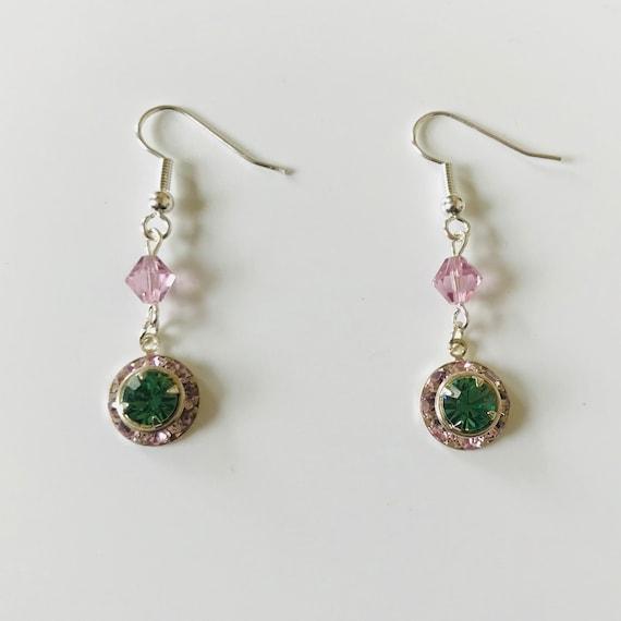 Peridot and Vintage Rose Swarovski Charm Earrings