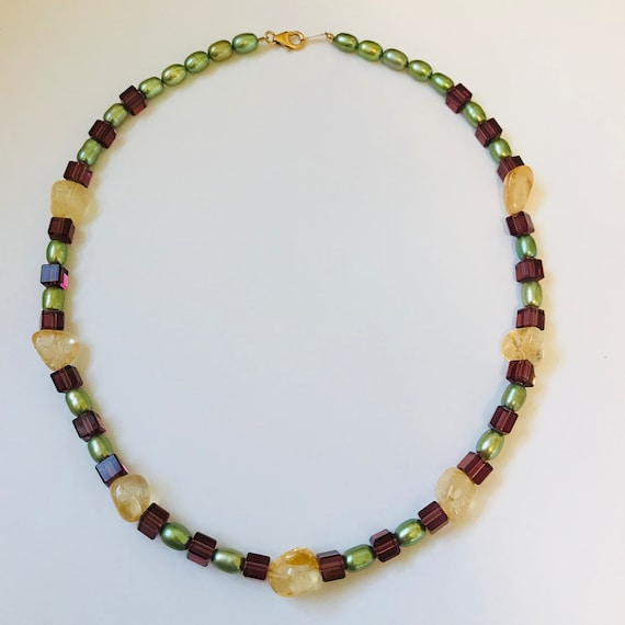 Freshwater Pearl, Citrine and Crystal Necklace, Bracelet and Earring Set