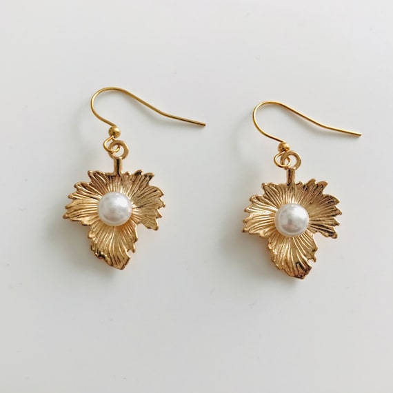 Gold Leaf with a Pearl Dangle Earrings