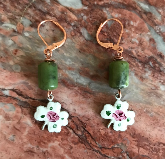 Connemara Marble and Enamel Irish Four Leaf Clover Dangle Earrings