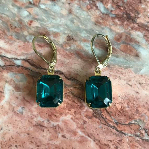 Blue Zircon Octagon Rhinestone Gold Dangle Earrings
