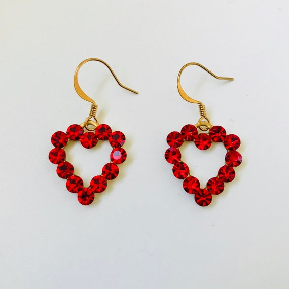 Red Swarovski Rhinestone Heart Earrings