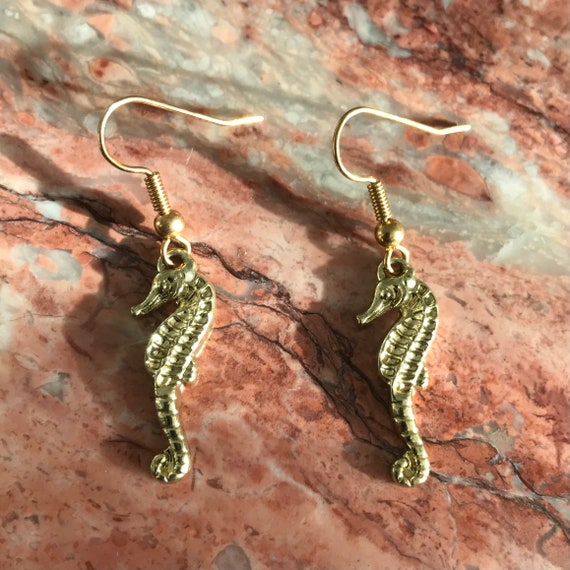 The Golden Seahorse Earrings