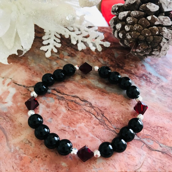 Black Onyx Stretch Bracelet with Swarovski Crystal and Silver Hematite