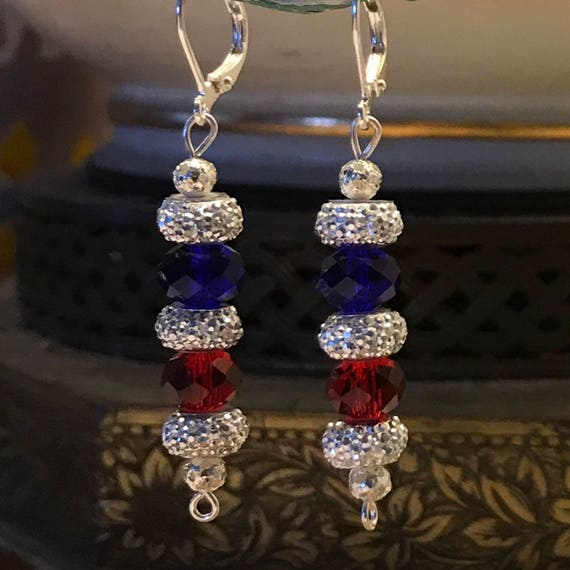 Silver Blue Red Sparkling Dangle Earrings