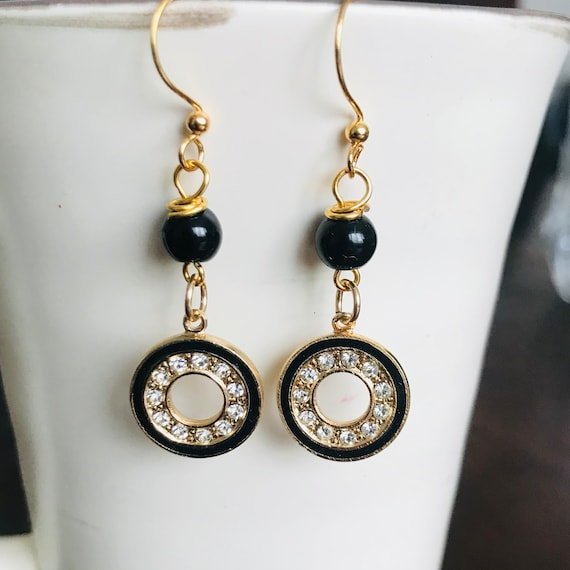 Black Onyx Rhinestone Dangle Earrings