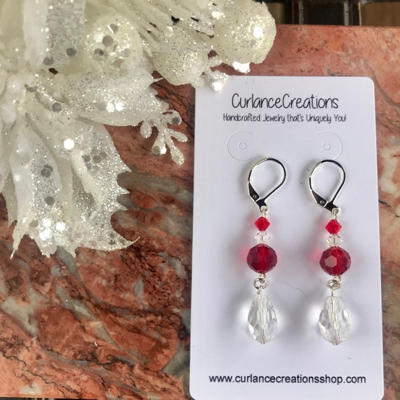 Crystal and Glass Red and Clear Teardrop Holiday Dangle Earrings