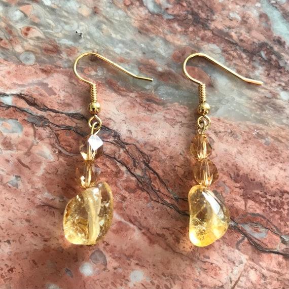 Citrine and Amber Crystal Dangle Earrings